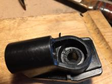 The ridge removed with a large drill bit